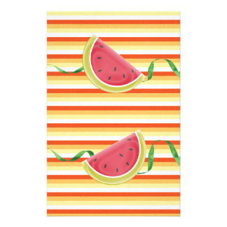 Watermelon on Green Ribbon Look, Red, Yellow, Oran Stationery Design