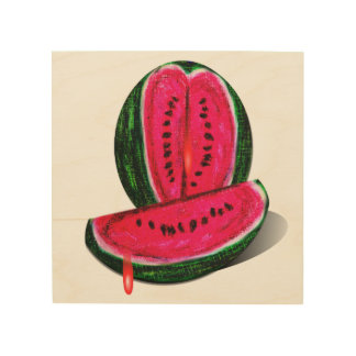 Watermelon Painting Wood Print