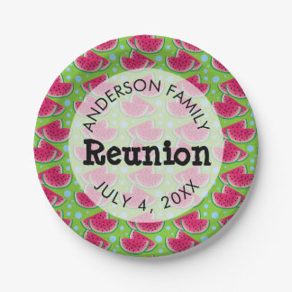 Watermelon Pattern Background Family Reunion 7 Inch Paper Plate
