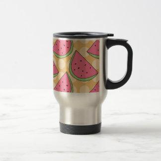 Watermelon Pattern, Orange Polka Dots Stainless Steel Travel Mug