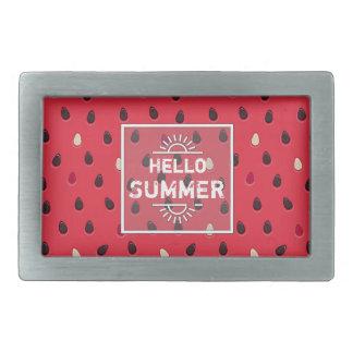Watermelon Pattern, Summer Time   Personalized Rectangular Belt Buckle