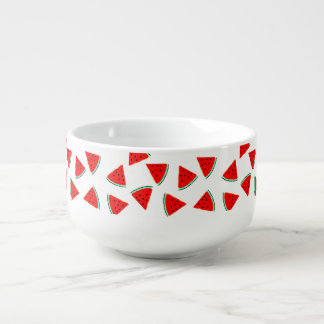 Watermelon Pattern Triangles Soup Bowl With Handle