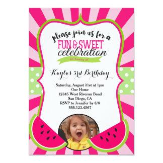Watermelon Photo Birthday Party Invitation