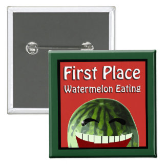 Watermelon Picnic 1st  Place Watermelon Eating 15 Cm Square Badge