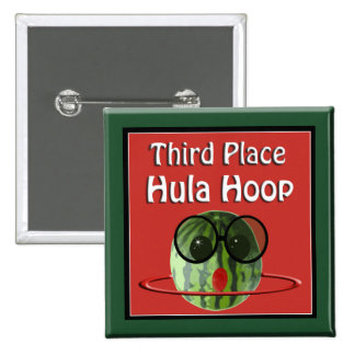 Watermelon Picnic Party 3rd Place Hula Hoop 15 Cm Square Badge