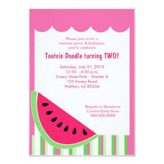 Watermelon Picnic Summer Birthday Party 5x7 13 Cm X 18 Cm Invitation Card