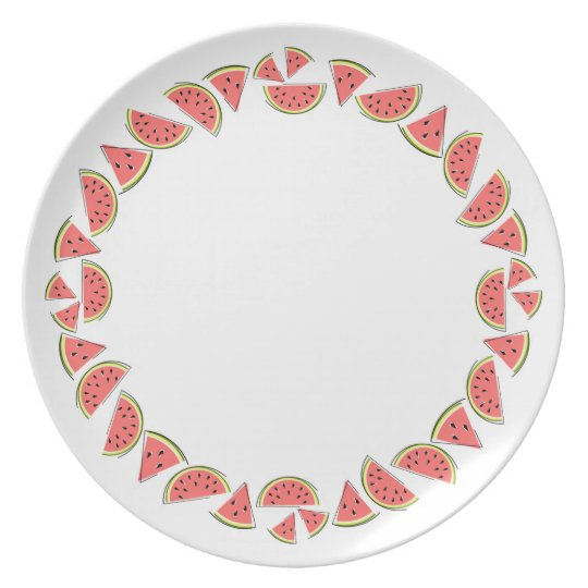 Watermelon Pieces Border melamine plate