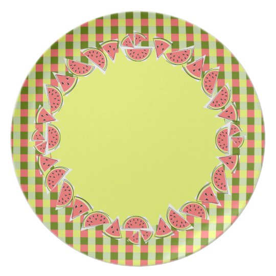 Watermelon Pieces Check border melamine plate