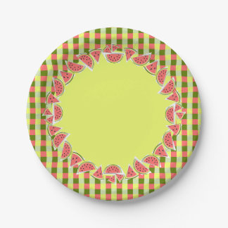 Watermelon Pieces Check border paper plates