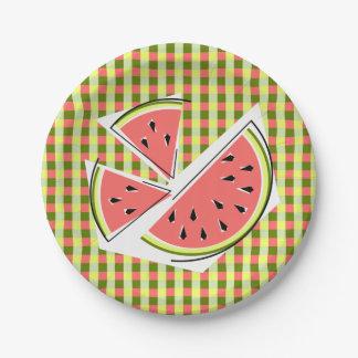 Watermelon Pieces Check paper plates