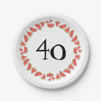 Watermelon Pieces Circle 40 Age paper plates
