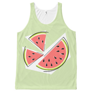 Watermelon Pieces Green all over tank top