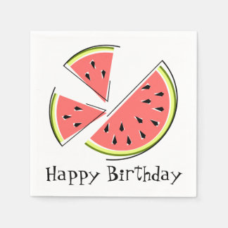 Watermelon Pieces Happy Birthday napkins paper Disposable Serviettes