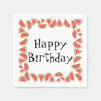 Watermelon Pieces Square Happy Birthday Paper Serviettes