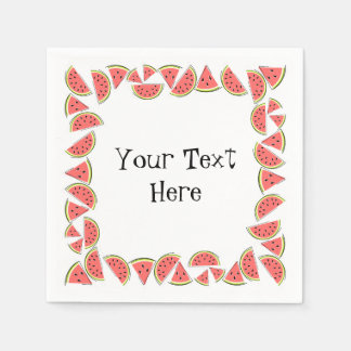 Watermelon Pieces Square Text napkins paper Disposable Serviettes