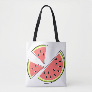 Watermelon Pieces tote bag pink back