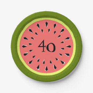 Watermelon Pink 40 Age paper plates