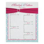Watermelon Pink and Blue Seating Plan Chart