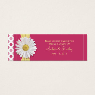 Watermelon Pink Daisy Mini Wedding Favor Tag