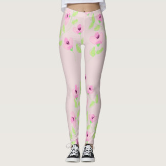 Watermelon Pink Floral Leggings