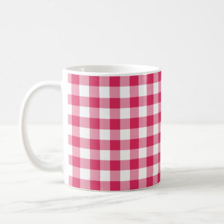 Watermelon Pink Gingham Checked Pattern Coffee Mug