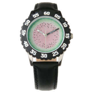Watermelon Pink & Green Hand Painted Watercolor Watch