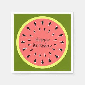 Watermelon Pink Happy Birthday napkins paper Paper Serviettes