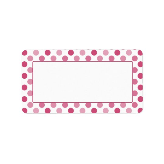 Watermelon Pink Polka Dot Blank Address Labels
