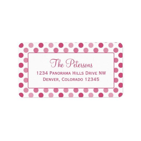 Watermelon Pink Polka Dot Return Address Labels