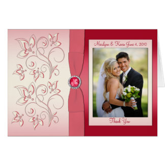 Watermelon PInk Thank You Card with Photo