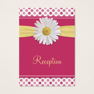 Watermelon Pink & Yellow Daisy Reception Cards