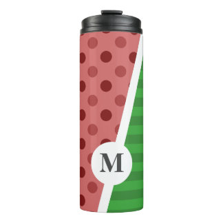Watermelon Polka Dots and Stripes: Monogram Thermal Tumbler