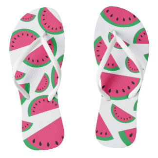 Watermelon print flip flops
