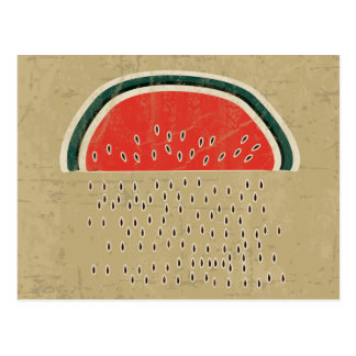 Watermelon Raining Seeds Postcard