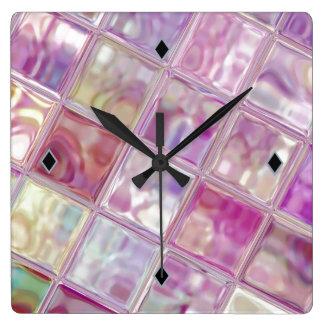 Watermelon Shimmer Digital Art Acrylic Clock
