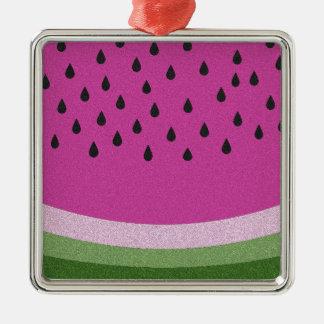 Watermelon Silver-Colored Square Decoration