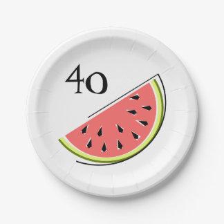 Watermelon slice 40 Age paper plates