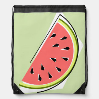 Watermelon slice drawstring backpack green