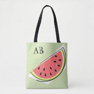 Watermelon Slice Green monogram  tote bag
