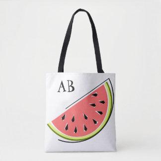 Watermelon Slice monogram  tote bag
