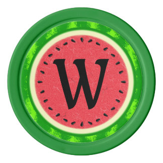 Watermelon Slice Summer Fruit with Rind Monogram Poker Chips
