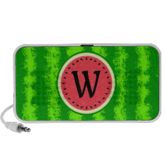 Watermelon Slice Summer Fruit with Rind Monogram Portable Speaker