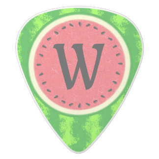 Watermelon Slice Summer Fruit with Rind Monogram White Delrin Guitar Pick
