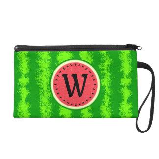 Watermelon Slice Summer Fruit with Rind Monogram Wristlet