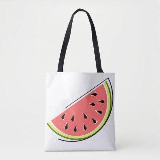 Watermelon slice tote bag striped back