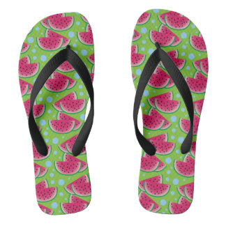 Watermelon Slices on Green with Blue Dots Flip Flops