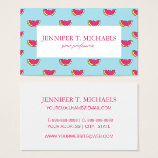 Watermelon Slices on Teal Pattern Business Card