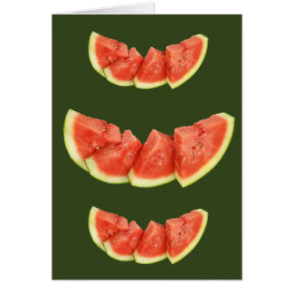 Watermelon Slices Rounded Triangles Card