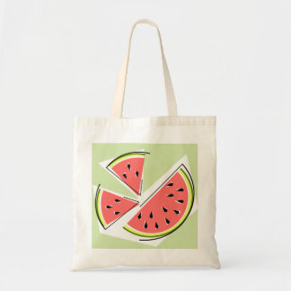 Watermelon slices tote bag green