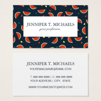 Watermelon Slices with Hearts Pattern Business Card